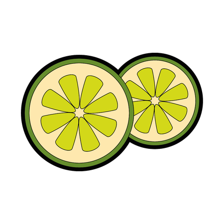 lemon in halves icon vector illustration graphic design
