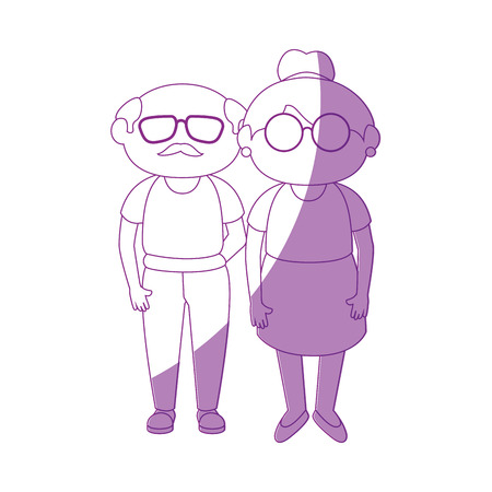 grandson: grandmother and grandfather stand up icon vector illustration graphic design