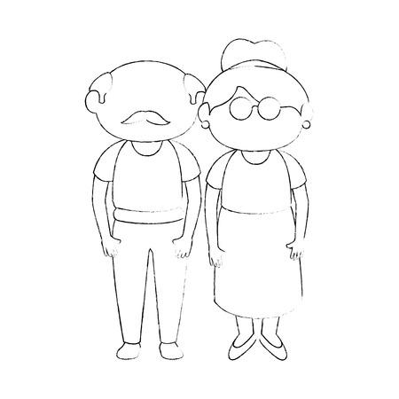 祖母と祖父は立ち上がってアイコン ベクトル イラスト グラフィック デザイン