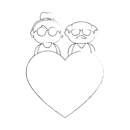 granddad: old couple in love icon vector illustration graphic design Illustration