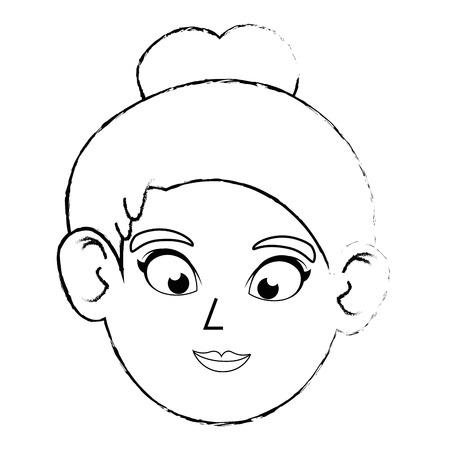 cute women face icon vector illustration graphic design Stock Vector - 80723944