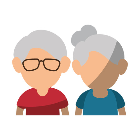 upperbody cute old couple icon vector illustration graphic design