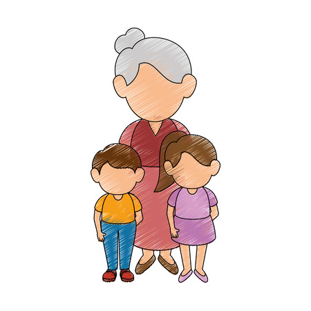 grandmother and kids stand up icon vector illustration graphic design