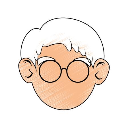 古い男の顔アイコン ベクトル イラスト グラフィック デザイン