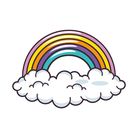 雲と虹のアイコン ベクトル イラスト グラフィック デザイン  イラスト・ベクター素材