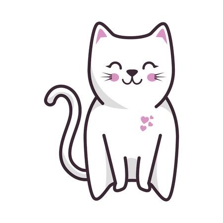 geïsoleerde schattige kat pictogram vector illustratie grafisch ontwerp Stock Illustratie