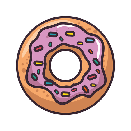 isolated cute doughnut icon vector illustration graphic design