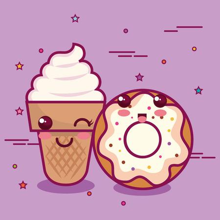 Donut y cono de helado sobre fondo púrpura ilustración vectorial Foto de archivo - 80732575