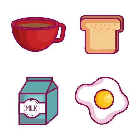 Kleurrijke reeks ontbijtvoedsel over witte vectorillustratie als achtergrond Stock Illustratie
