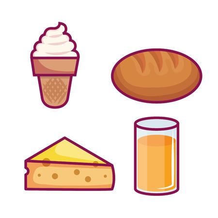 Colorful set of breakfast food over white background vector illustration Ilustrace