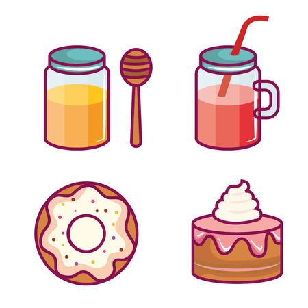 Colorful sweet treats and juice over white background vector illustration