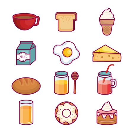 Bunte Reihe von Frühstück Essen über weißem Hintergrund Vektor-Illustration Standard-Bild - 80732583