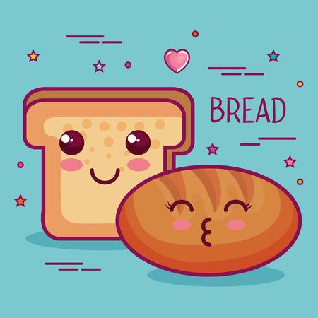 bread loaf and slice over teal background vector illustration Çizim