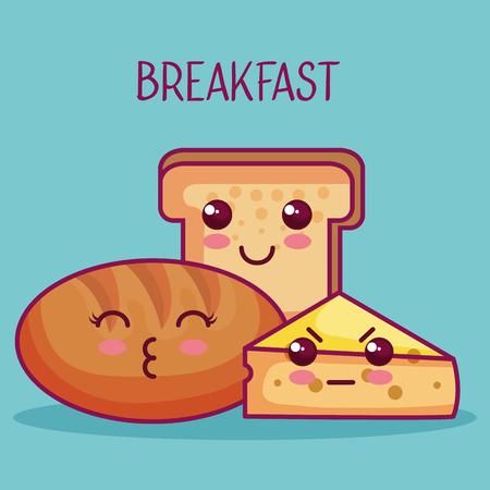 パンとチーズ青緑背景上ベクトル イラスト  イラスト・ベクター素材