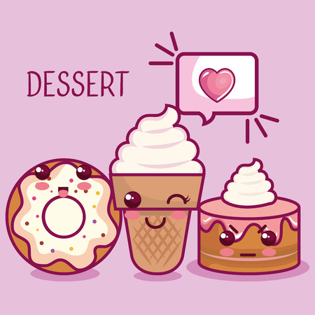 desserts with speech balloon and heart over lilac background vector illustration. Ilustrace