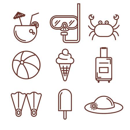 手描き夏休暇オブジェクトを白い背景ベクトル図を設定  イラスト・ベクター素材