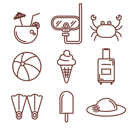 Hand drawn summer vacation objects set over white background vector illustration Illustration