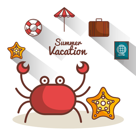 Crab and starfish with summer vacation related objects over white background