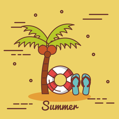 Palm tree lifesaver and flip flops over yellow background vector illustration