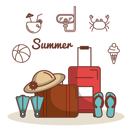 Colorful and hand drawn summer vacation related objects over white background vector illustration Illustration
