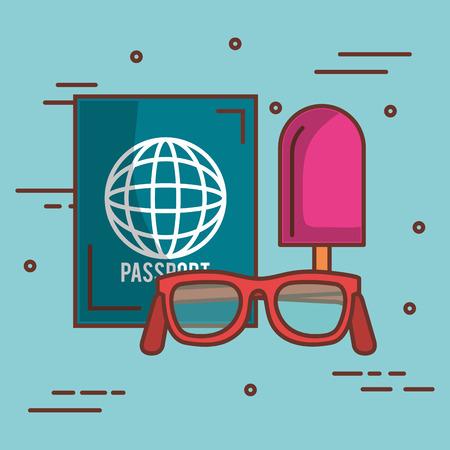 メガネのパスポートと青い背景上のアイスクリーム ベクトル イラスト