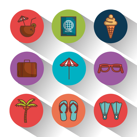 Colorful summer vacation icons set over white background vector illustration