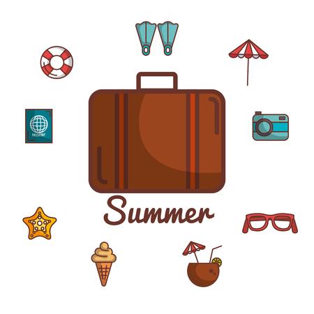 ブリーフケースや夏休み関連オブジェクトを白い背景ベクトル図の上 写真素材 - 80732758