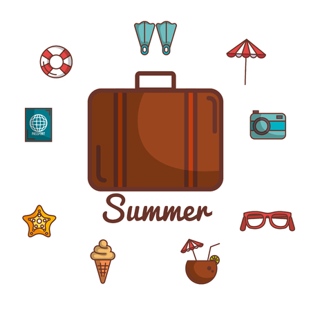 Briefcase and summer vacation related objects over white background vector illustration