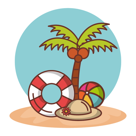 Palm tree lifesaver ball and hat over white background vector illustration