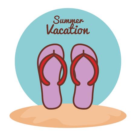 Roze flip-flops op het strand over witte achtergrond vectorillustratie Stock Illustratie