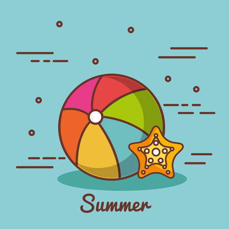 Beach ball and starfish over blue background vector illustration