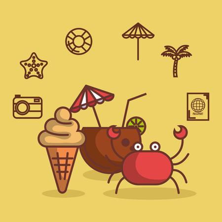 黄色の背景のベクトル図を夏休みのココナッツ カクテル カニやアイス クリーム コーン関連オブジェクト