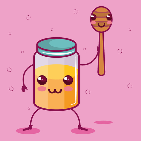 honey jar and dipper over pink background vector illustration Иллюстрация