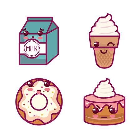 甘いお菓子と白い背景のベクトル図にミルクのセット