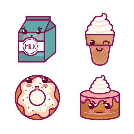 Set of   sweet treats and milk over white background vector illustration