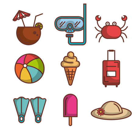 Colorful summer vacation objects set over white background vector illustration