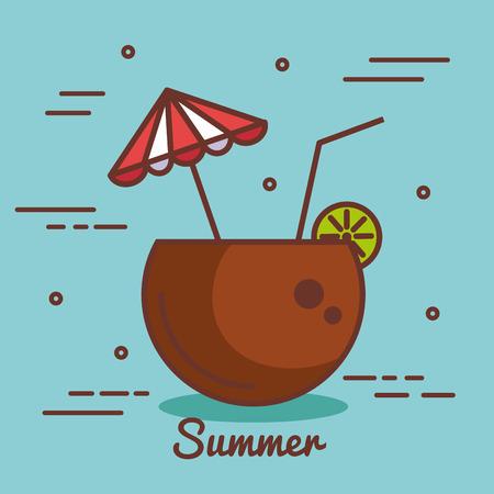 Coconut cocktail over blue background vector illustration