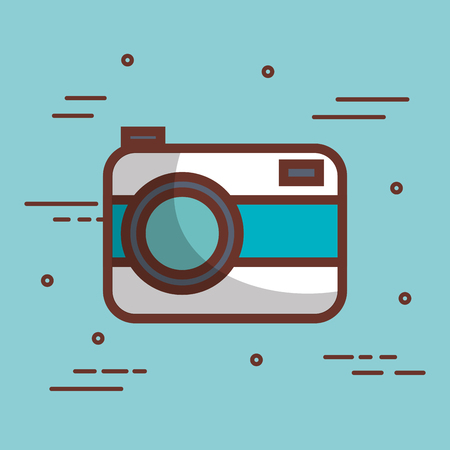 White and blue camera icon over blue background vector illustration