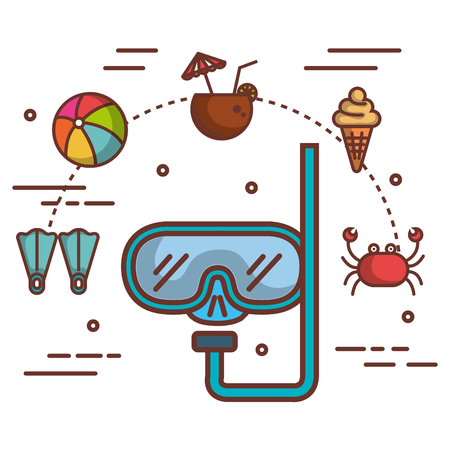 Snorkel and summer vacation related objects over white background vector illustration Illusztráció