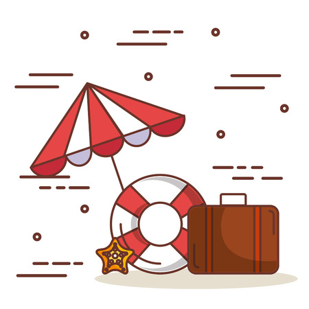 Umbrella with lifesaver and briefcase over white background vector illustration