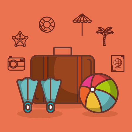 Briefcase fins and ball wit other summer vacation related objects over peach background vector illustration