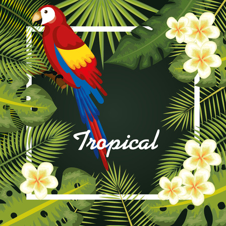 Guacamaya with tropical leaves and flowers over green background vector illustration