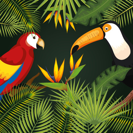 Toucan and guacamaya with tropical leaves and flowers over green background vector illustration Illustration