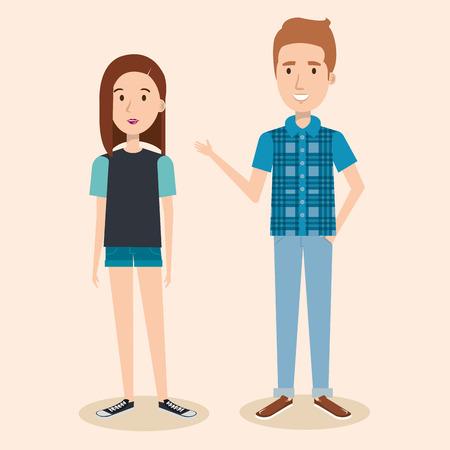 Junge brunette Frau und blonde Mann über hellem Hintergrund Vektor-Illustration Standard-Bild - 80733220