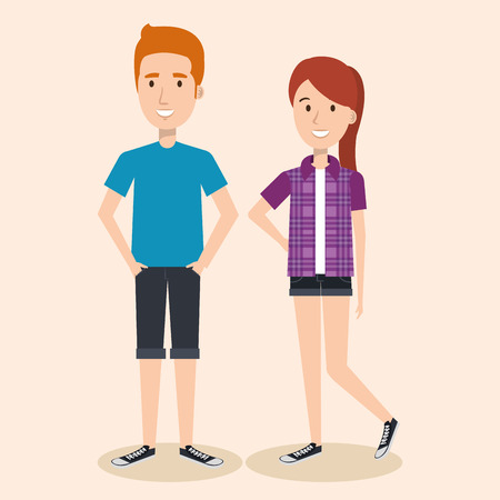 Junge Ingwer Mann und Frau über hellem Hintergrund Vektor-Illustration Standard-Bild - 80733223