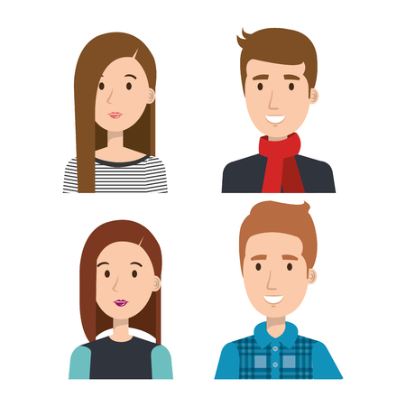 Set of young people over light background vector illustration Ilustração
