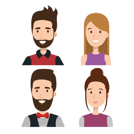 Set of young people over light background vector illustration 向量圖像