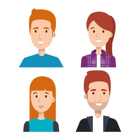 Set van jonge mensen over lichte achtergrond vector illustratie Stockfoto - 80733545