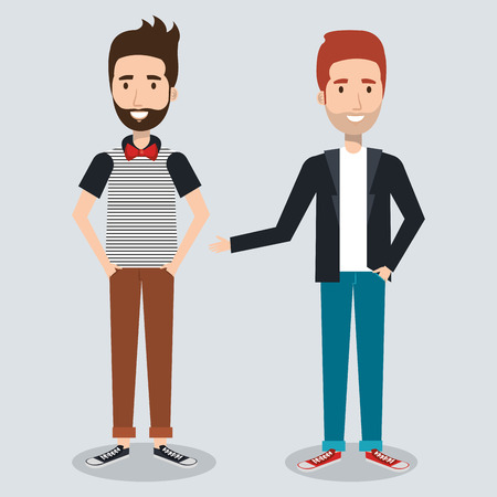 Young hipster men over light background vector illustration