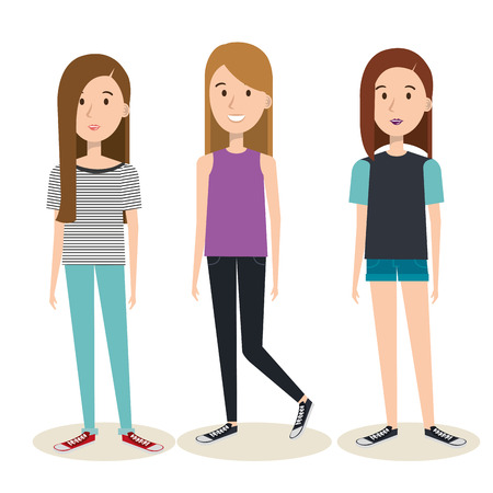 Junge Frauen über hellem Hintergrund Vektor-Illustration Standard-Bild - 80734003